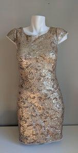 Aidan Mattox Gold Sequin Cocktail Dress